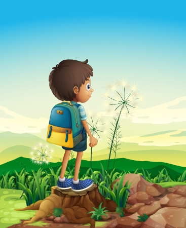 overlooking: Illustration of a boy with a backpack standing above a stump Illustration