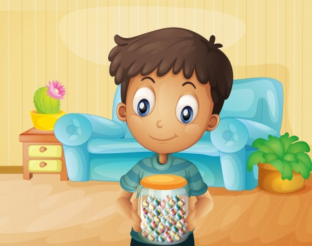 Illustration of a boy inside the house with a jar of candies Vector