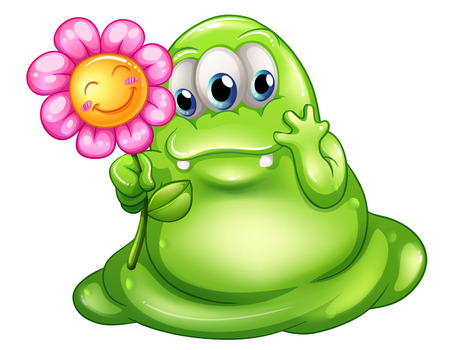 Illustration of a caring greenslime monster on a white background Vector
