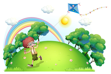 Illustration of a boy playing with his kite at the hilltop on a white background Vector
