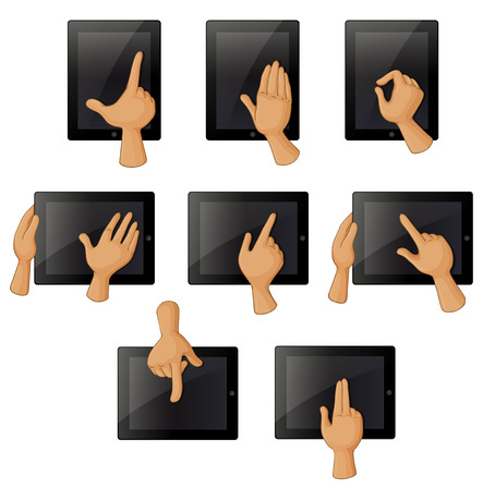 middle finger: Illustration of the different hand gestures when using a gadget on a white background