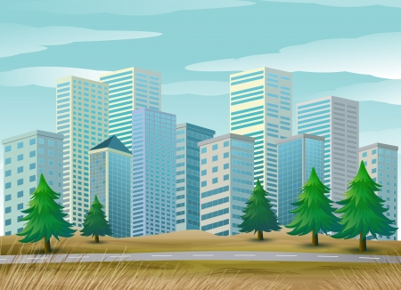 Illustration of the pine trees along the street Vector