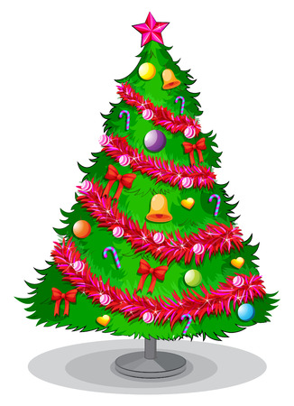 Illustration of a colorful christmas tree on a white background Vector