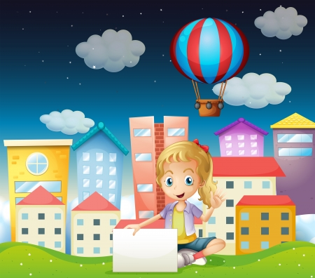 establishments: Illustration of a girl holding an empty signboard near the tall buildings Illustration
