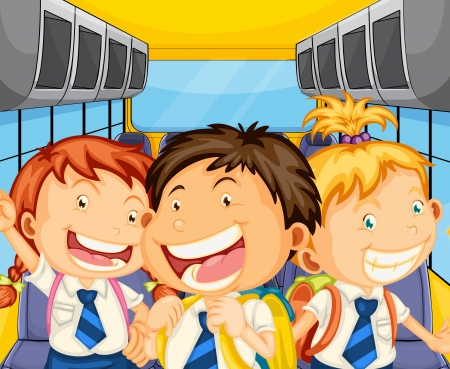female driver: Illustration of the happy kids inside the schoolbus