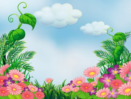 Illustration of a garden with blooming pink and violet flowers Illustration