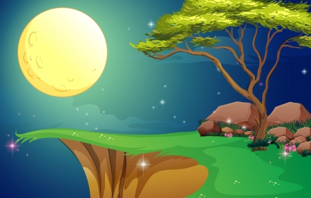 Illustration of a tree at the cliff under the bright fullmoon Vector