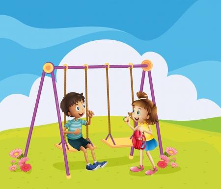 Ilustración de un niño y una niña en el parque