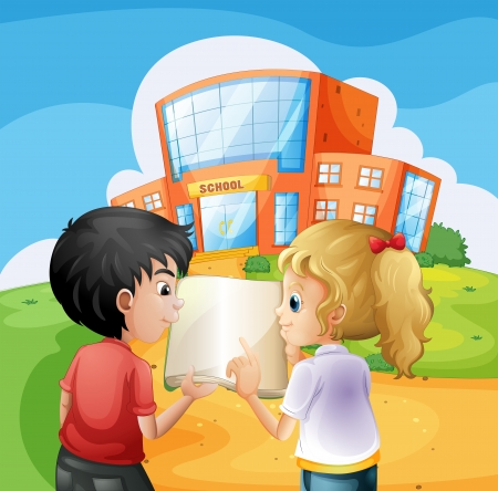Illustration of the kids arguing in front of the school building Vector
