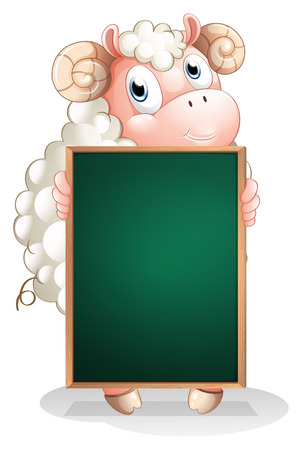 Illustration of a shy sheep holding an empty blackboard on a white background Vector