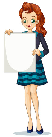 formal attire: Illustration of a young businesswoman holding an empty signage on a white background Illustration