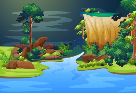Illustration of a deep blue river in the forest Vector