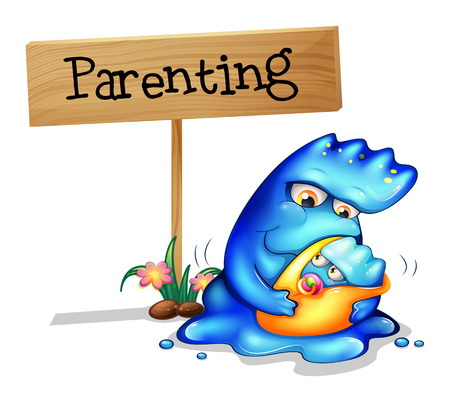 Illustration of a parent monster and her child on a white background Vector