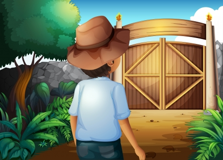 frontyard: Illustration of a man with a hat inside the gated yard