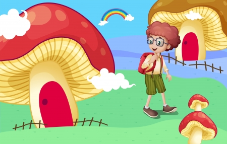 Illustration of a boy near the giant mushroom houses Vector