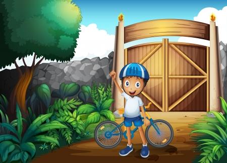 frontyard: Illustration of a boy in the frontyard with a bike