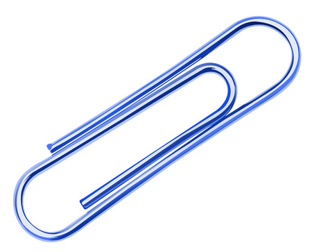 friction: Illustration of a blue paper clip on a white background