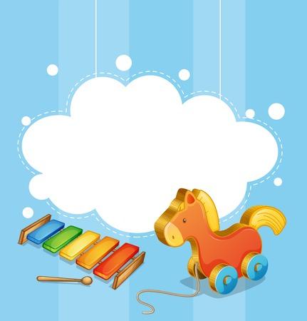 juguetes de madera: Ilustración de una plantilla nube vacía con un caballo de juguete y un xilófono