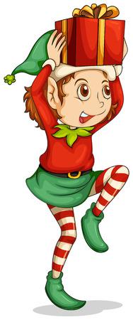 cartoon elfe: Illustration eines Elfen mit einem Geschenk �ber seinem Kopf auf einem wei�en Hintergrund Illustration