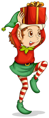 elfos navideÑos: Ilustración de un duende con un regalo por encima de su cabeza sobre un fondo blanco