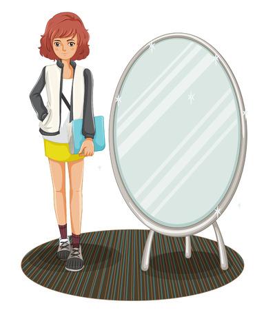 Illustration d'une écolière debout à côté du miroir sur un fond blanc Vecteurs
