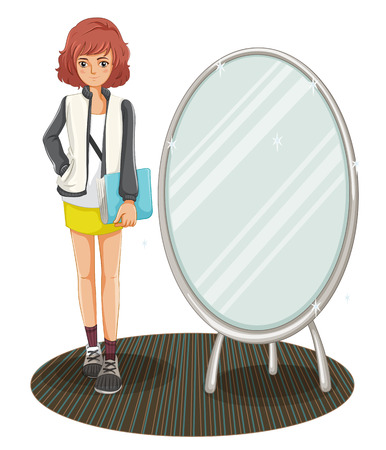 college girl: Illustration of a schoolgirl standing beside the mirror on a white background
