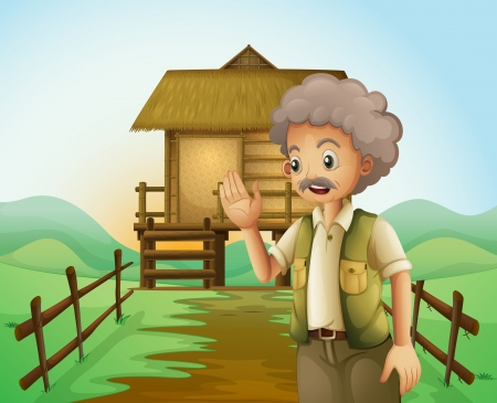 Illustration of an old man in front of the native house at the hilltop Vector