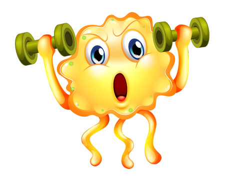 Illustration of a cute monster exercising with dumbbells on a white background Vector