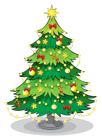 Illustration of a green christmas tree with sparkling lights on a white background Vector