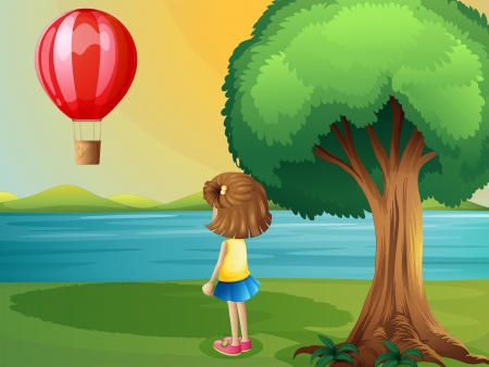 Illustration of a girl watching the hot air balloon at the riverbank Vector