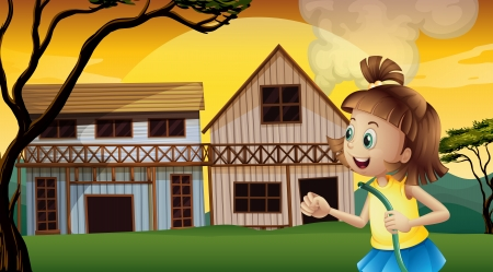 barnhouse: Illustration of a happy young girl holding a waterhose Illustration