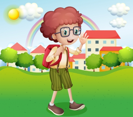 drawings image: Illustration of a boy going home from school Illustration
