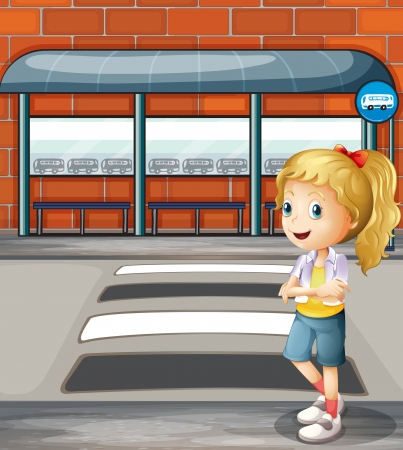 Illustration of a smiling young woman standing near the pedestrian lane Vector