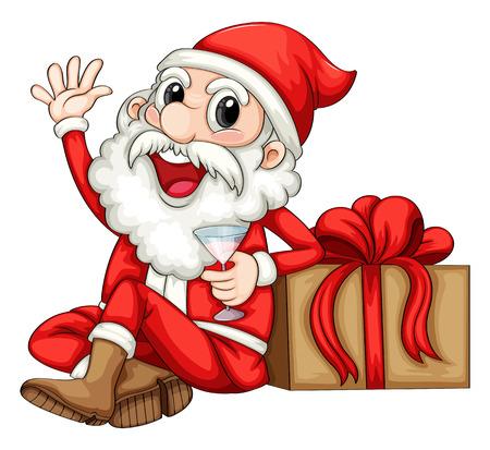 natal: Illustration of Santa sitting beside a gift on a white background
