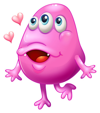 Illustration of a pink monster with two hearts on a white background Vector