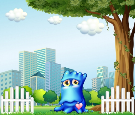 Illustration of a blue monster standing near the fence across the tall buildings Vector