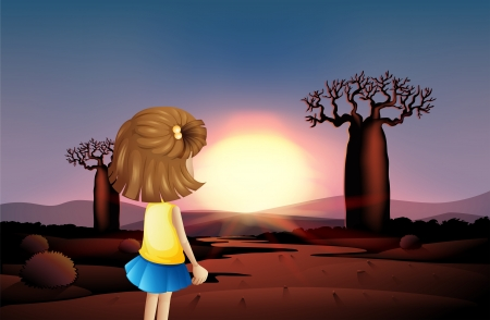 Illustration of a young girl watching the sunset at the desert Vector