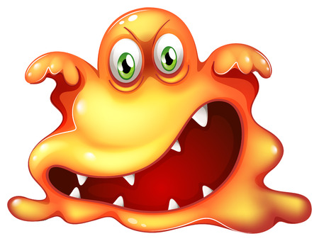 eye ball: Illustration of a monster in horror on a white background Illustration