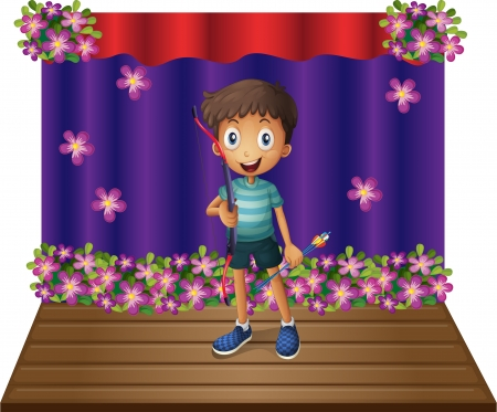 centerstage: Illustration of a stage with a young boy holding a bow and arrow on a white background Illustration