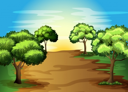 Illustration of the growing green trees in the forest Vector