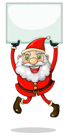 Illustration of a smiling Santa Claus holding an empty signage on a white background Vector