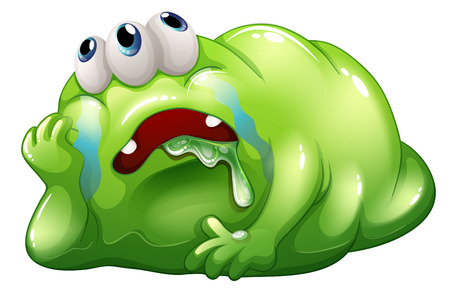 sorrowful: Illustration of a disappointed monster on a white background Illustration
