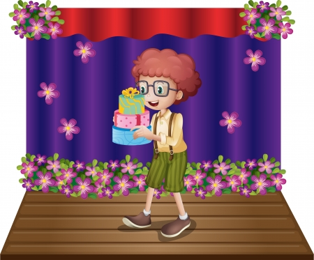 centerstage: Illustration of a stage with a young boy holding gifts on a white background
