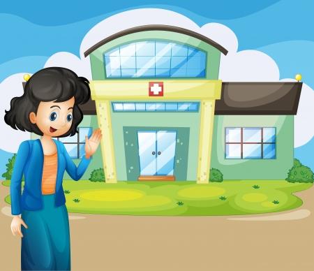 infermiere paziente: Illustrazione di una donna di fronte all'ospedale Vettoriali