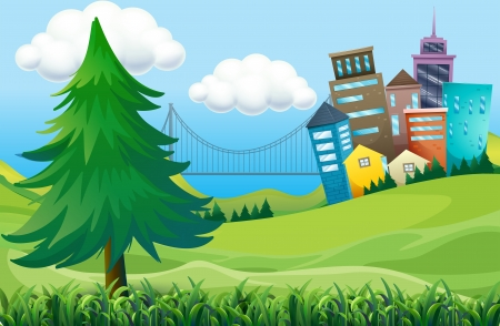 Illustration of the hills with buildings Vector