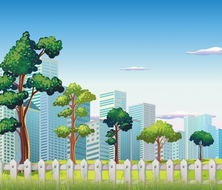 Illustration of the trees inside the fence near the tall buildings Vector
