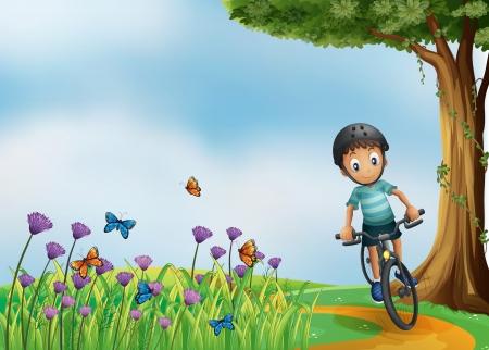 Illustratie van een biker biking op de heuveltop met een tuin
