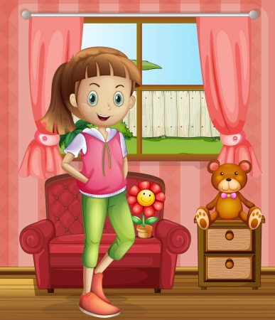 Illustration of a cute young girl inside the house Vector