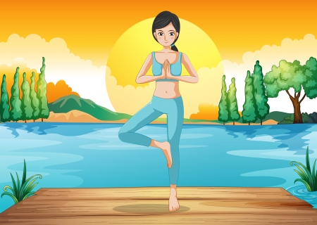 Illustration of a girl doing yoga outdoor Vector