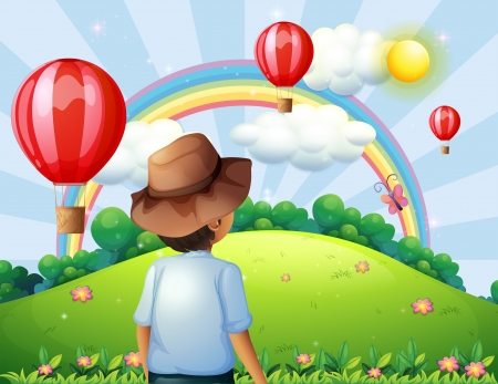 hilltop: Illustration of a boy at the hilltop with flying balloons and a rainbow